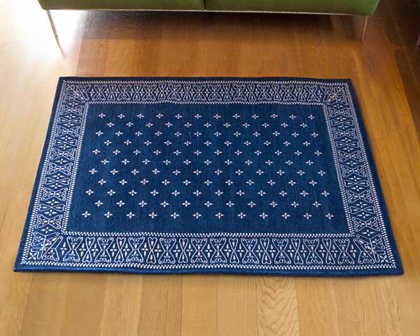【送料無料】cross bandanna rug クロス バンダナ ラグ ML 160×120cm おしゃれ ホットカーペット 床暖房対応