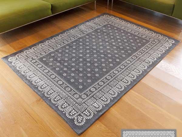 【送料無料】flower bandanna rug gray フラワー バンダナ ラグ グレー L 200×140cm おしゃれ ホットカーペット 床暖房対応