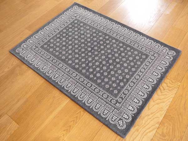 【送料無料】flower bandanna rug gray フラワー バンダナ ラグ グレー M 140×100cm おしゃれ ホットカーペット 床暖房対応