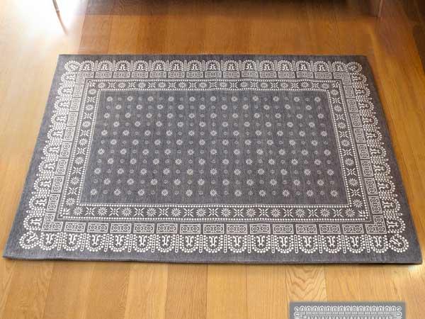 【送料無料】flower bandanna rug gray フラワー バンダナ ラグ グレー ML 160×120cm おしゃれ ホットカーペット 床暖房対応