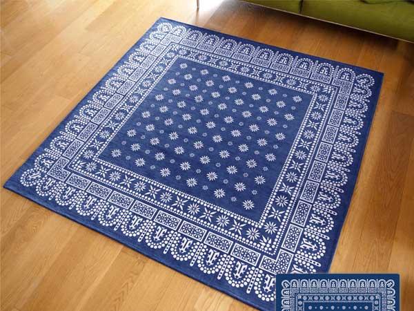 【送料無料】flower bandanna rug navy フラワー バンダナ ラグ ネイビー LL 200×200cm おしゃれ ホットカーペット 床暖房対応