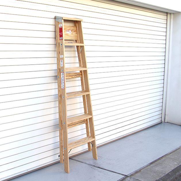 ミシガンラダー ウッドステップラダー サイズ6 Wood Step Ladder Size 6 脚立 おしゃれ 6段 折りたたみ ウッド 木製 踏み台 ステップ台 はしご 梯子 ハシゴ DIY インテリア アメリカン