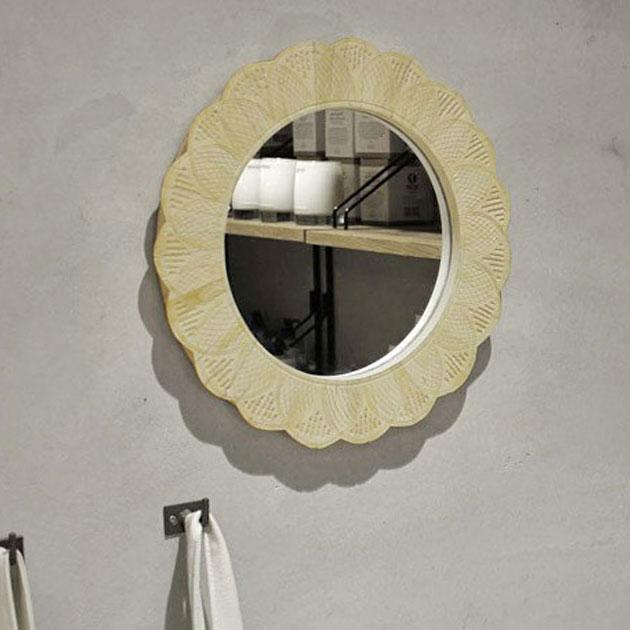 鏡 ミラー 丸 花 おしゃれ アンティーク 壁掛け 壁付け ウォールミラー フラワー 丸型 円形 壁掛けミラー カントリー レトロ ホワイト 白 かわいい 可愛い 木製 美容室 Goody Grams / MIRROR NIRMAL 送料無料