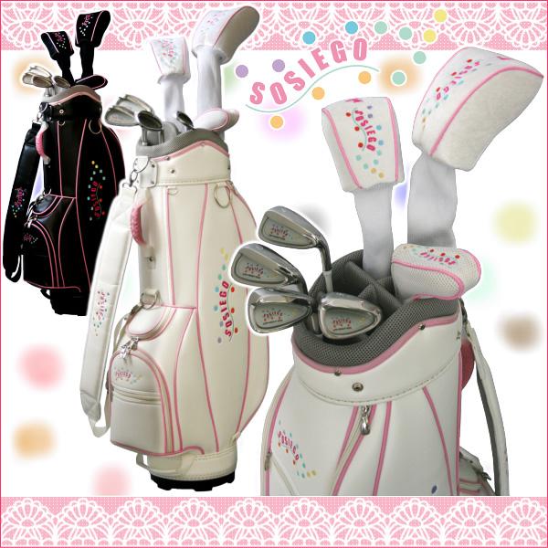 * SOSIEGO sosiego ladies set 7 with half ladies Golf set (driver + fairway wood + iron 4 + putter + Caddy bag):