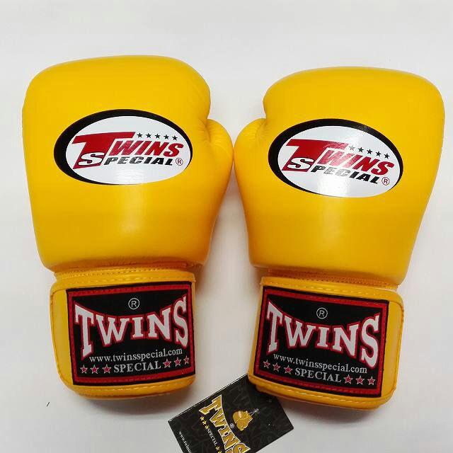 TWINS SPECIAL ボクシンググローブ 10oz 黄色/ボクシング/ムエタイ/グローブ/キック/フィットネス/本革製