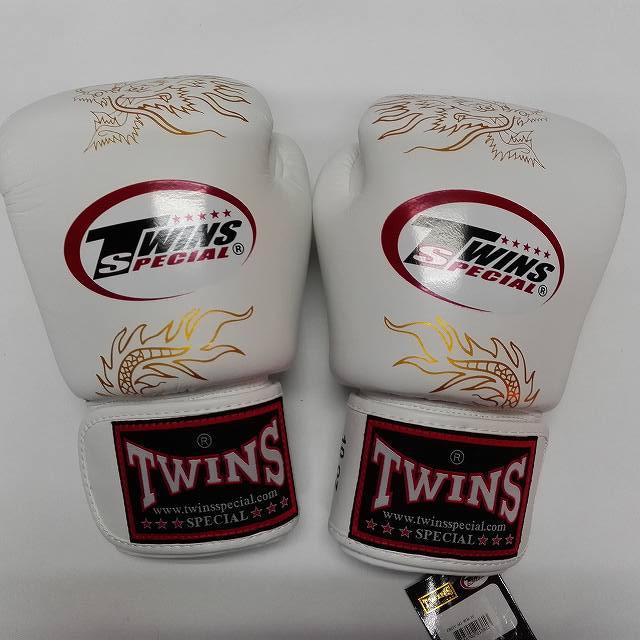 TWINS SPECIAL ボクシンググローブ 12oz 龍白 /ボクシング/ムエタイ/グローブ/キック/フィットネス/本革製/ツインズ