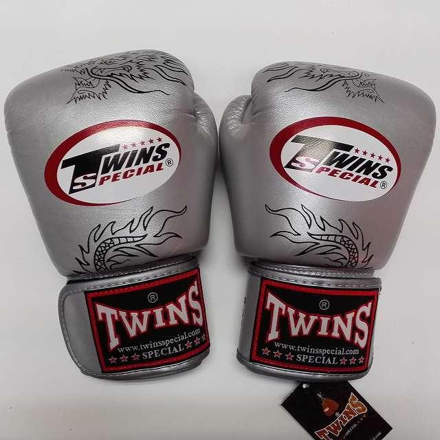 TWINS SPECIAL ボクシンググローブ 8oz 龍銀 /ボクシング/ムエタイ/グローブ/キック/フィットネス/本革製/ツインズ/大人用