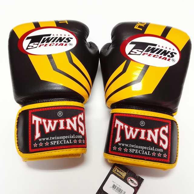 TWINS SPECIAL ボクシンググローブ 16oz Fs黒黄 /ボクシング/ムエタイ/グローブ/キック/フィットネス/本革製/ツインズ/大人用