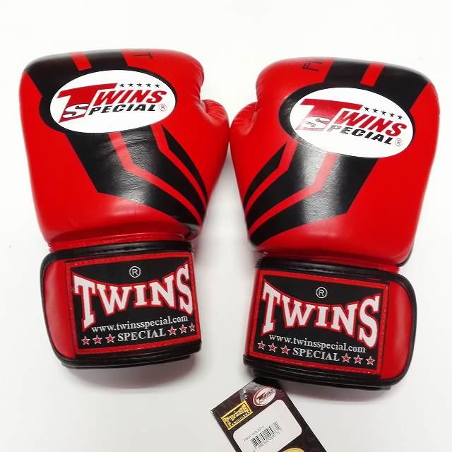 TWINS SPECIAL ボクシンググローブ 12oz Fs赤黒 /ボクシング/ムエタイ/グローブ/キック/フィットネス/本革製/ツインズ/大人用/オンス