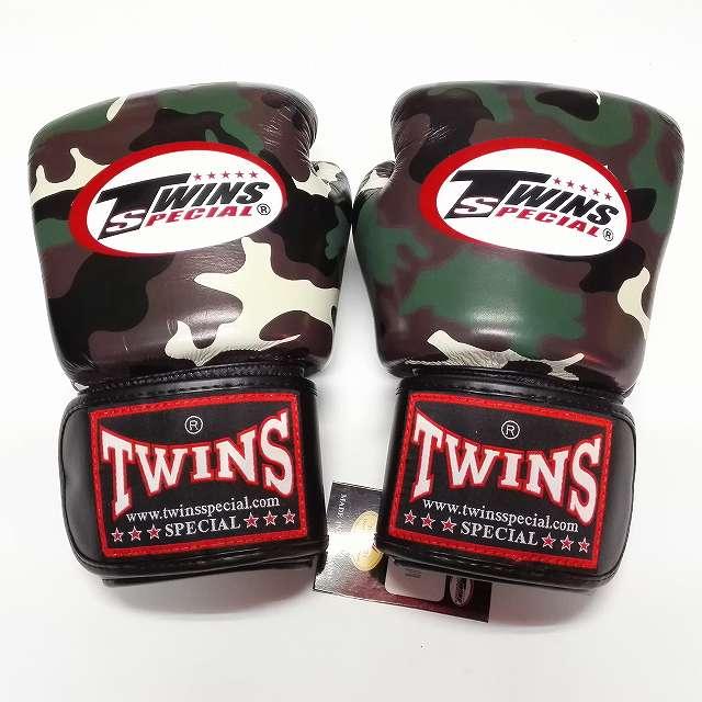 TWINS SPECIAL ボクシンググローブ 12oz 迷彩緑 /ボクシング/ムエタイ/グローブ/キック/フィットネス/本革製/ツインズ/大人用/オンス