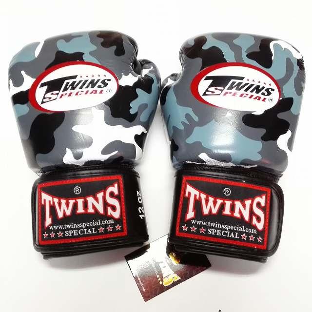TWINS SPECIAL ボクシンググローブ 14oz 迷彩黒 /ボクシング/ムエタイ/グローブ/キック/フィットネス/本革製/ツインズ/大人用/オンス