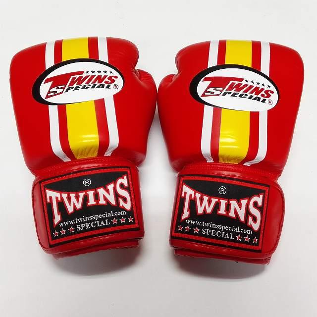 TWINS SPECIAL ボクシンググローブ 16oz 赤黄白ライン /ボクシング/ムエタイ/グローブ/キック/フィットネス/本革製/ツインズ/大人用/オンス