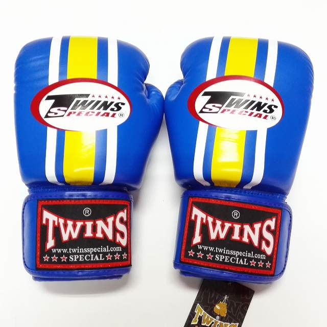 TWINS SPECIAL ボクシンググローブ 16oz 青黄白ライン /ボクシング/ムエタイ/グローブ/キック/フィットネス/本革製/ツインズ/大人用/オンス