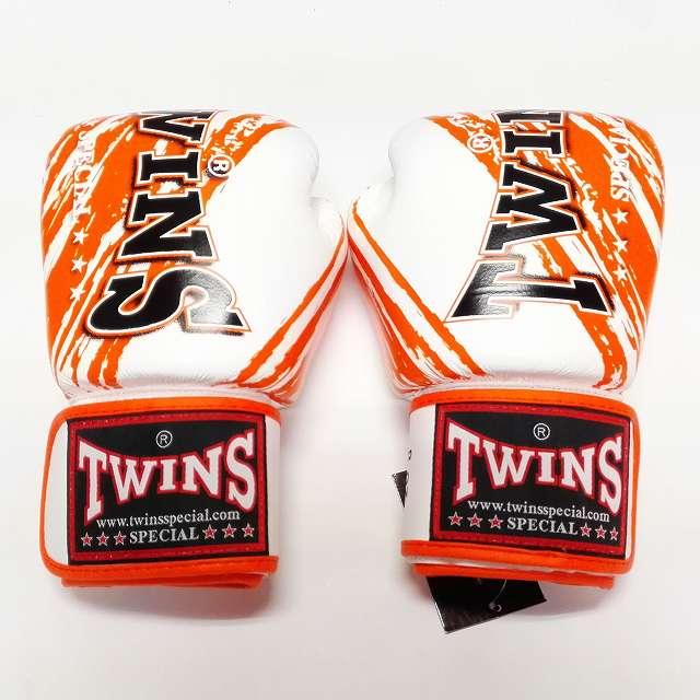 TWINS SPECIAL ボクシンググローブ 10oz TW白オレンジ /ボクシング/ムエタイ/グローブ/キック/フィットネス/本革製/ツインズ/大人用/10オンス