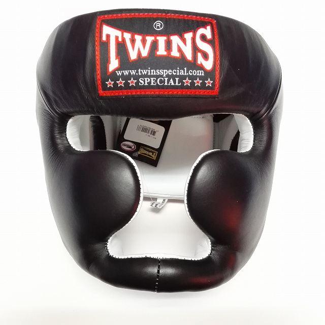 TWINS SPECIAL ヘッドギア 黒/本革製/ヘッドガード/ボクシンググローブ/ボクシング/ムエタイ/グローブ/キック/ツインズ/大人用
