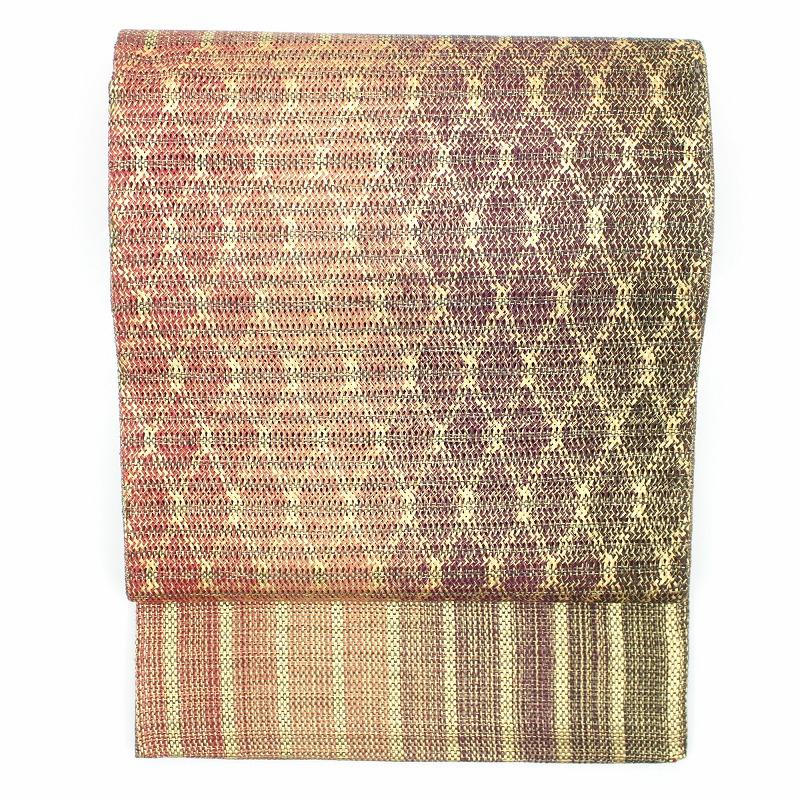 袋帯 金×赤×茶 ざっくりとした織りに菱模様がオシャレ【送料無料】  【中古】 仕立て上がり帯 仕立て上がり着物 リサイクル リユース