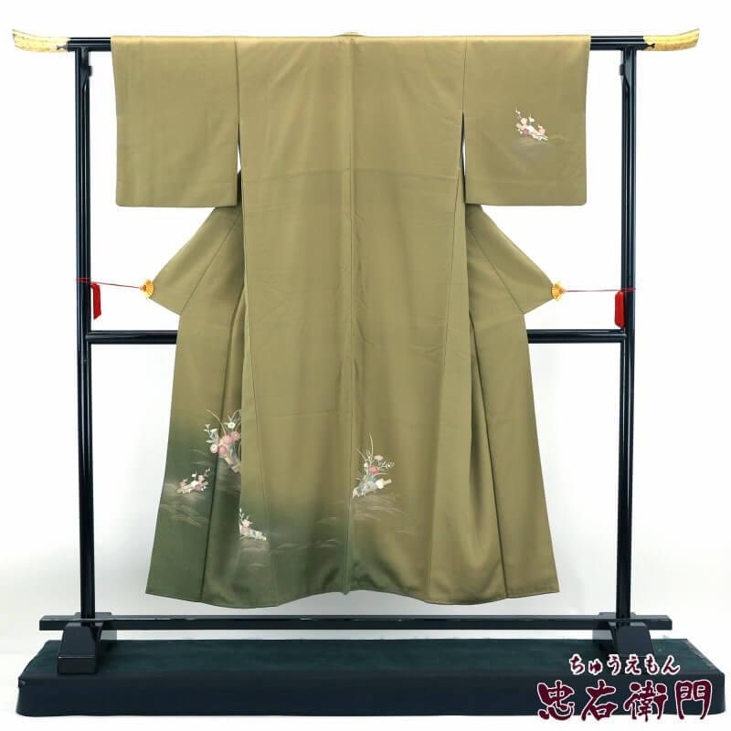 礼装用着物 シックな色合いの花筏文の付け下げ 裄64cm 送料無料 小さいサイズ あす楽対応 袷 正絹 【中古】 フォーマル