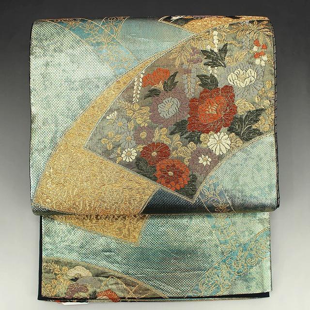 袋帯 リサイクル 正絹 金緑 地紙柄 菊 牡丹【送料無料】【中古】リユース