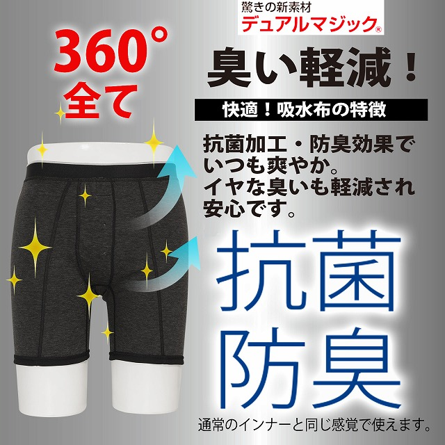 [5月マラソン 40%OFF] 紳士 抗菌消臭 汗ジミ対策トランクス 360度全面吸収 アシストグラン トランクス ちょい漏れ対応 日本製  デュアルマジック 【P】 / 男性用 ボクサーパンツ 綿100% 父の日 プレゼント