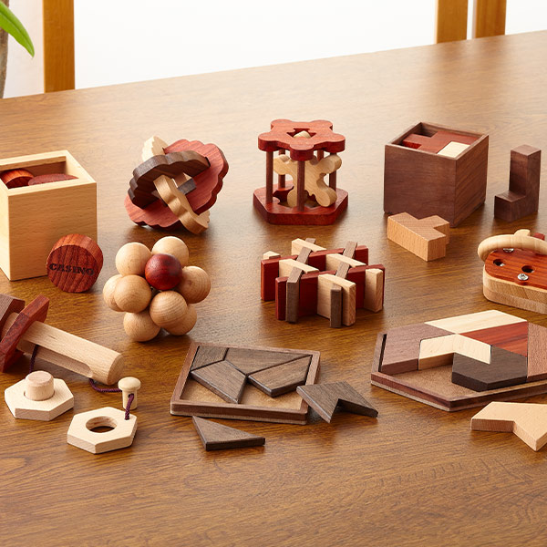 パズルで脳トレーニング 専門店 -ひらめき編- 木製パズル10種+特製冊子付き ギフ_包装
