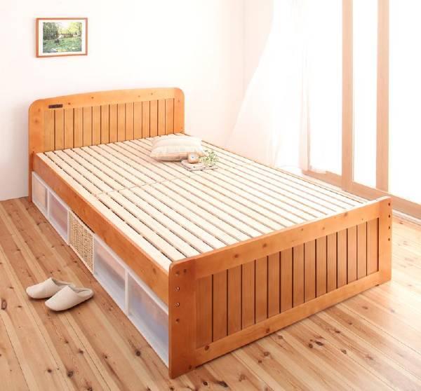 【スーパーSALE】【1000円OFFクーポン】 高さが調節できる!コンセント付き天然木すのこベッド Fit-in フィット・イン/セミダブル  (UF1)