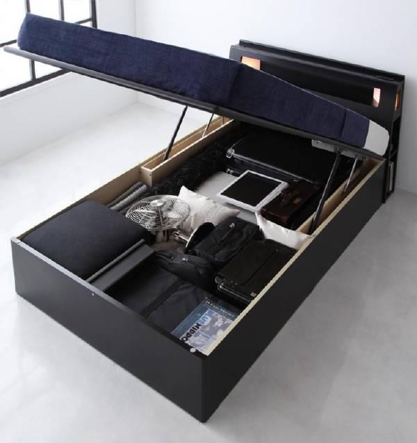(UF) モダンライトコンセント付き・ガス圧式跳ね上げ収納ベッド Kezia ケザイア ポケットコイルマットレス:ハード付き シングル  (UF1)