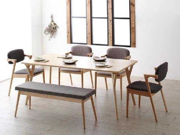 (UF) 北欧ナチュラルモダンデザイン天然木ダイニング Wors ヴォルス 6点セット(テーブル+チェア4脚+ベンチ1脚) W170 (UF1)