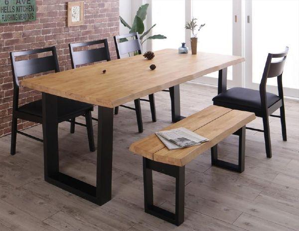 (UF) 天然木無垢材ヴィンテージデザインダイニング NELL ネル 6点セット(テーブル+チェア4脚+ベンチ1脚) ベンチ2P W180 (UF1)