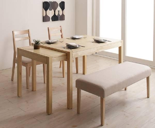 (UF) 無段階で広がる スライド伸縮テーブル ダイニング AdJust アジャスト 4点セット(テーブル+チェア2脚+ベンチ1脚) W120-200 (UF1)