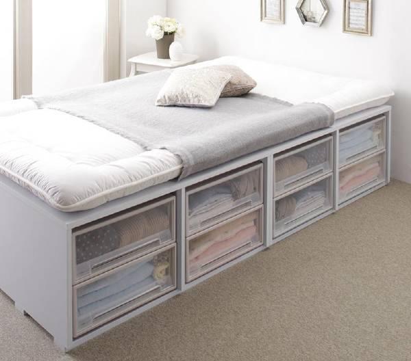 (UF)布団で寝られる大容量収納ベッド Semper センペール 薄型スタンダードポケットコイルマットレス付き 引き出しなし ハイタイプ セミダブル  (UF1)