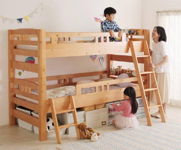 (UF) ロータイプなのに大容量収納できる・棚付き頑丈天然木2段ベッド Twinple ツインプル シングル (UF1)