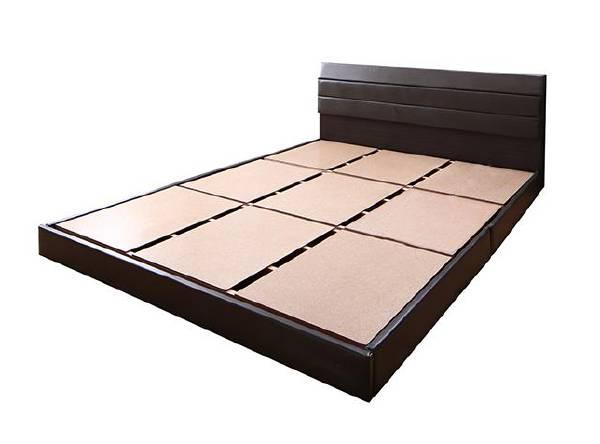 (UF)親子で寝られる棚・コンセント付きレザー連結ベッド Familiena ファミリーナ ベッドフレームのみ ダブル  (UF1)