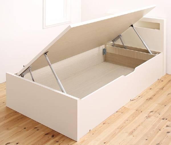 (UF) 小さな部屋に合うショート丈収納ベッド Odette オデット ベッドフレームのみ セミシングル ショート丈 深さラージ  (UF1)