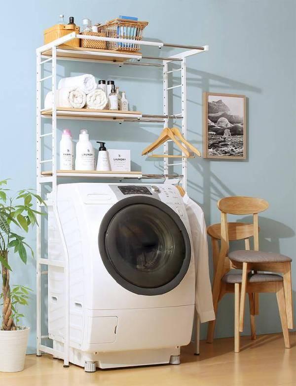 (UF)伸縮機能付き 洗濯機上のスペースが有効活用できる ナチュラルランドリーラック Mone モネ  (UF1)