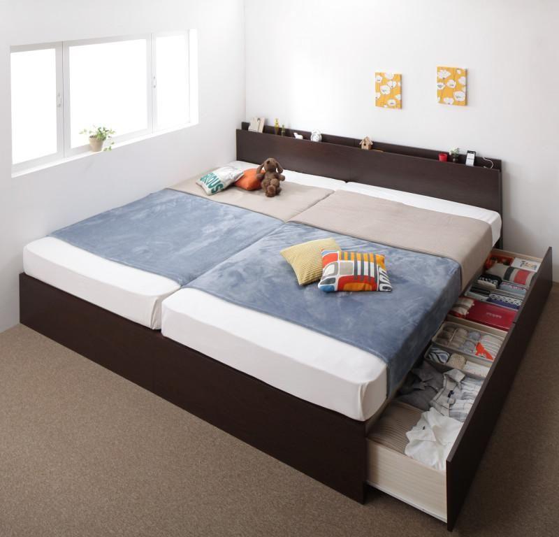 (UF) お客様組立 壁付けできる国産ファミリー連結収納ベッド Tenerezza テネレッツァ 羊毛入りゼルトスプリングマットレス付き A+Bタイプ ワイドK200 (UF1)