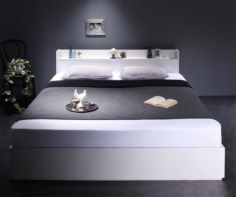 激安通販販売 ベッド 収納ベッド 送料無料 UF 棚 コンセント付収納ベッド クイーン UF1 Milliald 世界の人気ブランド スタンダードボンネルコイルマットレス付き ミリアルド