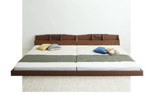 (UF)親子で寝られる収納棚・照明付き連結ベッド JointFamily ジョイント・ファミリー 国産ポケットコイルマットレス付き クイーン(SS×2)  (UF1)