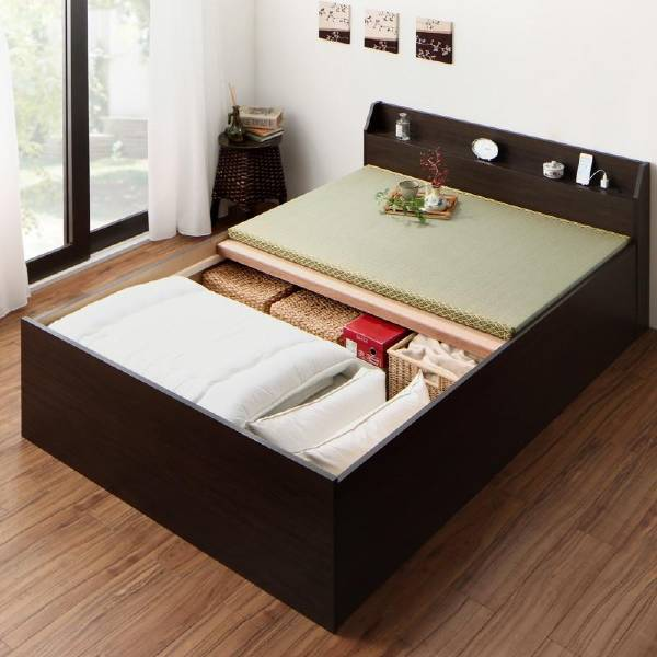 【スーパーSALE】【1000円OFFクーポン】 お客様組立 布団が収納できる棚・コンセント付き畳ベッド 洗える畳 シングル  (UF1)