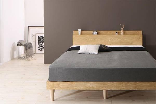 『4年保証』 すのこベッド 送料無料 UF 棚 コンセント付きデザインすのこベッド カミーユ 百貨店 Camille ダブル UF1 プレミアムボンネルコイルマットレス付き