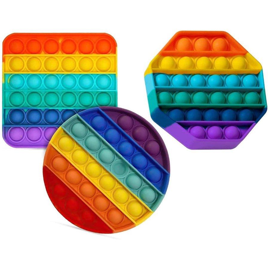 高品質 低単価より良い物をご提供致します! プッシュポップバブル 3個セット スクイーズ玩具 知育 減圧グッズ バブル感覚 丸型 八角形 四角形 1年保証 #738