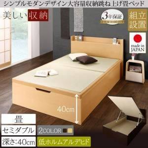 (UL) 組立設置 シンプルモダンデザイン大容量収納日本製棚付きガス圧式跳ね上げ畳ベッド 結葉 ユイハ セミダブル 深さラージ (UL1)