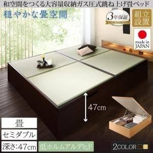 (UL) 組立設置 くつろぎの和空間をつくる日本製大容量収納ガス圧式跳ね上げ畳ベッド 涼香 リョウカ セミダブル 深さグランド (UL1)