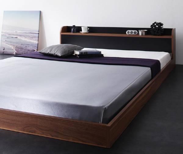 (UL) 棚・コンセント付きバイカラーデザインフロアベッド DOUBLE-Wood ダブルウッド スタンダードボンネルコイルマットレス付き シングル(UL1)