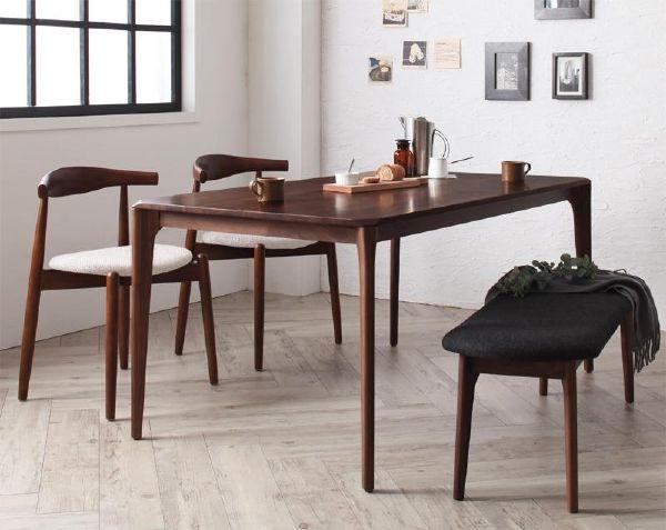 (UL) 新生活応援 ダイニングテーブル 北欧風 ファミリー モダン デザイナーズ 天然木 北欧デザイン 北欧デザイナーズダイニング Spremate シュプリメイト/4点Aセット(テーブル+チェアA×2+ベンチ) (UL1)