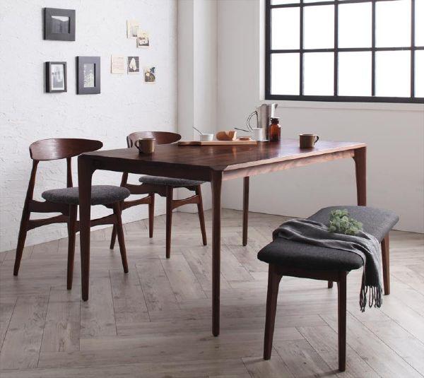 (UL) (ポイント2倍) 新生活応援 ダイニングテーブル 北欧風 ファミリー モダン デザイナーズ 天然木 北欧デザイン 北欧デザイナーズダイニング Spremate シュプリメイト/4点Bセット(テーブル+チェアB×2+ベンチ) (UL1)