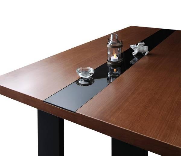 (UL) 新生活応援 ダイニングテーブル モダン スタイリッシュ ハイバック ビストロ仕立て モダンデザインダイニング Bistro M ビストロ エム/ウォールナットデザイン+ブラックガラステーブル(W150) (UL1)