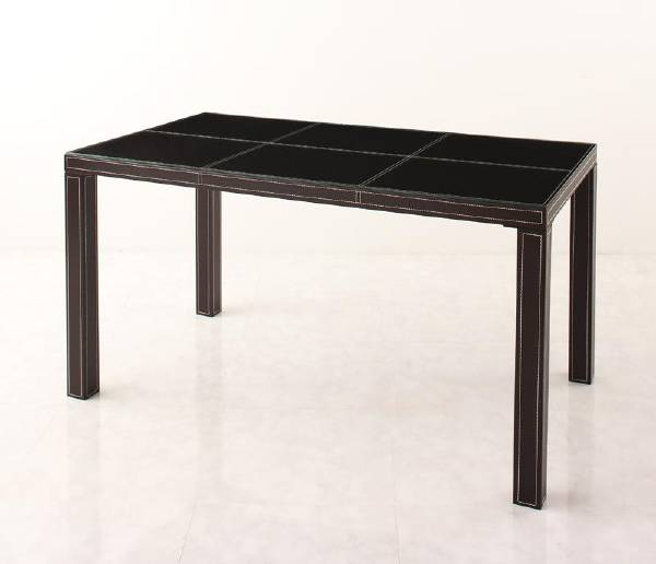 (UL) 新生活応援 ダイニングテーブル イタリアンモダンデザイン クロスステッチレザーガラスダイニング VALLONE ヴァローネ/テーブル(W135)(UL1)