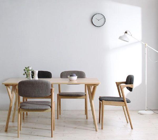 (UL) 北欧ナチュラルモダンデザイン天然木ダイニング Wors ヴォルス 5点セット(テーブル+チェア4脚) W140(UL1)