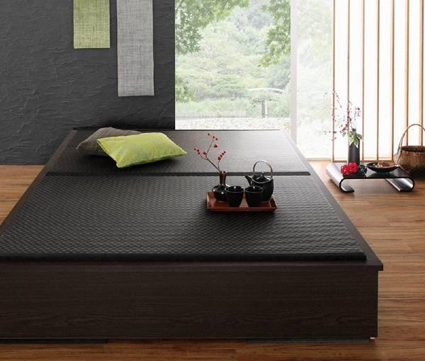 (UL) 美草・日本製 小上がりにもなるモダンデザイン畳収納ベッド 花水木 ハナミズキ セミダブル(UL1)