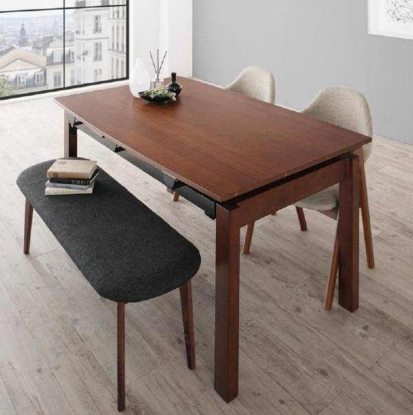 (UL) KANA カナ 4点セット(テーブル+チェア2脚+ベンチ1脚) W140-240(UL1)